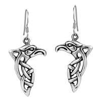 Handmade Mighty Eagle Head Celtic Weave .925 Silver Dangle Earrings (Thailand)
