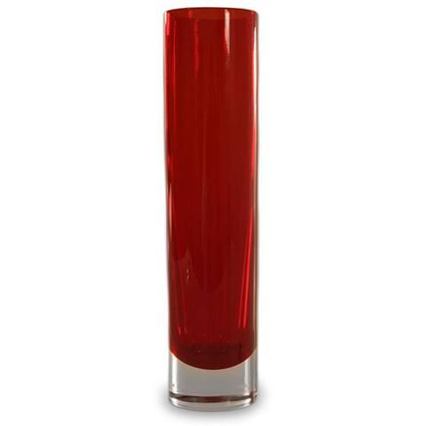 Handmade Scarlet Column Handblown Glass Vase (Brazil)