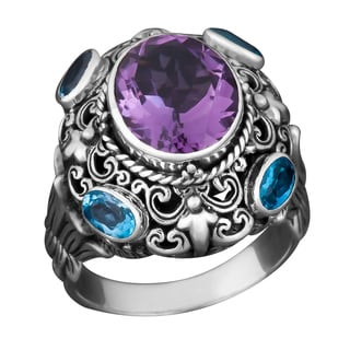 Handmade Sterling Silver Amethyst Blue Topaz Cawi Ring (Indonesia)