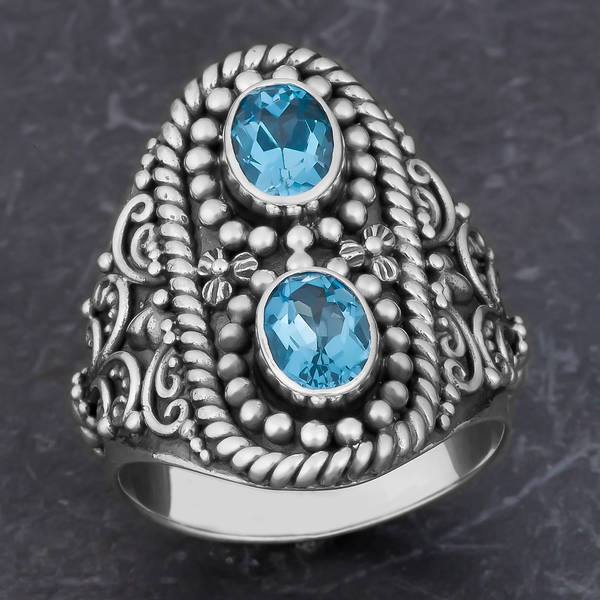 Handmade Sterling Silver Blue Topaz Cawi Ring (Indonesia)