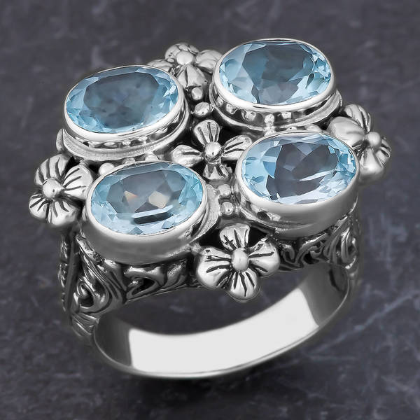 Handmade Sterling Silver Blue Topaz 'Balinese Cawi' Ring (Indonesia)