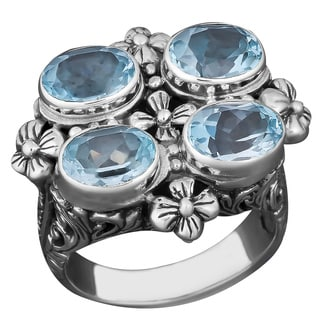 Handmade Sterling Silver Blue Topaz Balinese Cawi Ring Indonesia