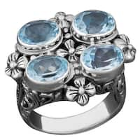Handmade Sterling Silver Blue Topaz Balinese Cawi Ring (Indonesia)