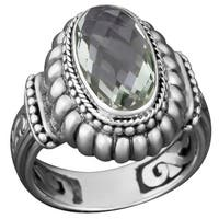 Handmade Sterling Silver Green Amethyst Solitaire Ring (Indonesia)