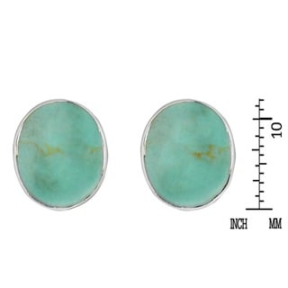 Classic Oval Stone .925 Sterling Silver Stud Earrings (Thailand)
