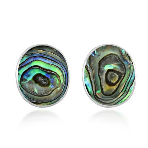 Handmade Classic Oval Stone .925 Sterling Silver Stud Earrings
