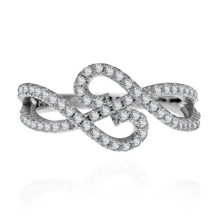 Handmade Double Infinity Cubic Zirconia Adorned .925 Silver Ring (Thailand)