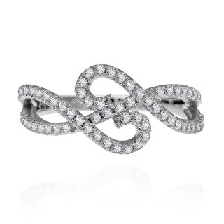 Handmade Double Infinity Cubic Zirconia Adorned .925 Silver Ring (Thailand) (3 options available)