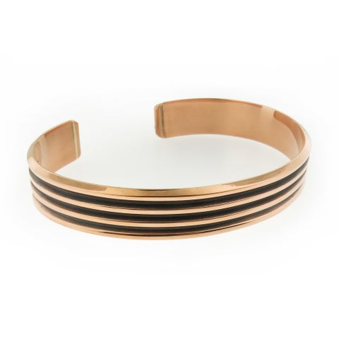 Handmade Polished Copper with Oxidized Stripes Unisex Cuff Bracelet (Mexico)