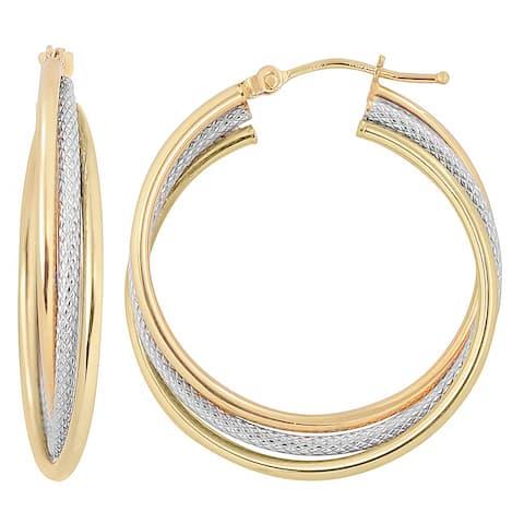 Fremada 10k Two-tone Gold High Polish and Textured Twist Hoop Earrings