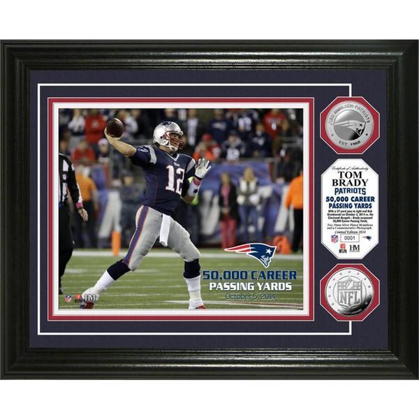 Tom Brady 50,000 Yards Silver Coin Photo Mint
