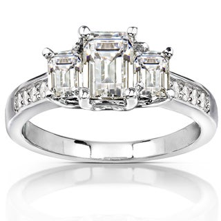 Annello by Kobelli 14k White Gold 1 3/5ct TGW Emerald-cut Moissanite and Diamond Accent 3-Stone Engagement Ring