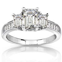 Annello by Kobelli 14k White Gold 1 3/5ct TGW Emerald-cut Moissanite (HI) and Diamond Accent 3-Stone Engagement Ring