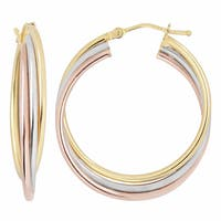 Fremada 10k Tri-color Gold High Polish Twist Hoop Earrings