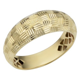 Fremada 10k Yellow Gold Diamond-cut Weave Design Ring
