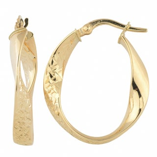 Link to Fremada 10k Yellow Gold Diamond-cut/ High Polish Twisted Oval Hoop Earrings Similar Items in As Is
