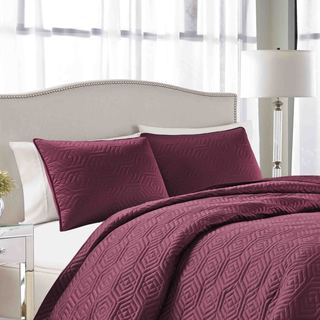 Shop Nicole Miller Double Geo Quilted 3 Piece Bedspread