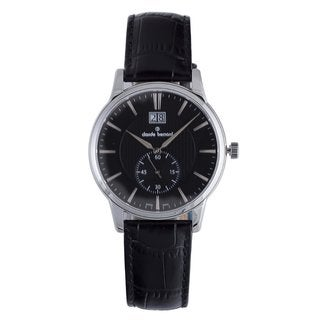 Claude Bernard Men's 64005 3 NIN Classic Black Dial Black Leather Strap Watch