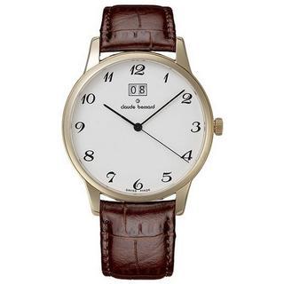 Claude Bernard Men's 63003 37R BB Classic White Dial Brown Leather Watch
