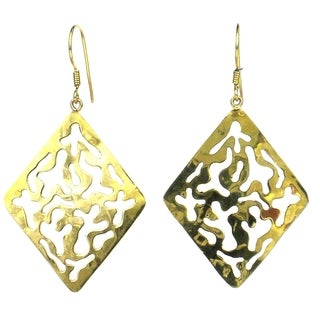 Handmade Diamond-Shaped Bomb Casing Earrings (Cambodia)