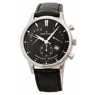 Claude Bernard Men's 01506 3 NIN Black Leather Chronograph Watch