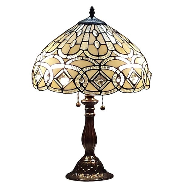 Amora lighting tiffany style 21 inch geometric table lamp