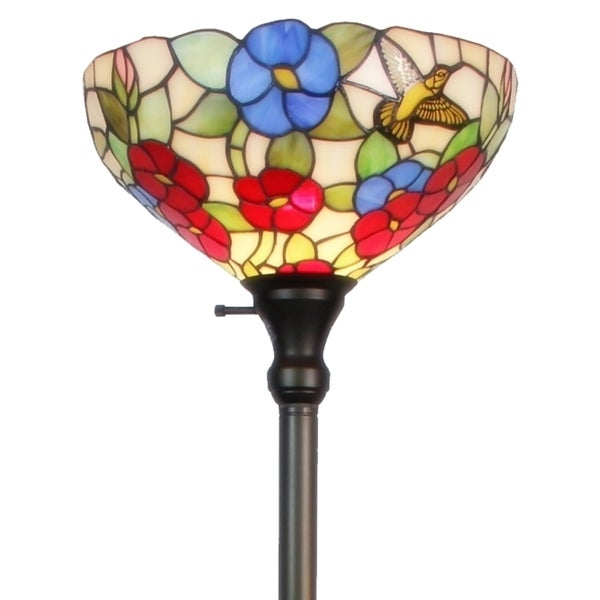 Tiffany Style Hummingbirds Flowers Design Torchiere Floor Lamp
