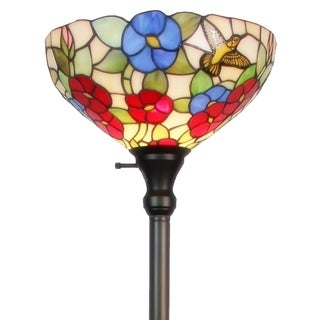 Tiffany-style Hummingbirds/ Flowers Design Torchiere Floor Lamp