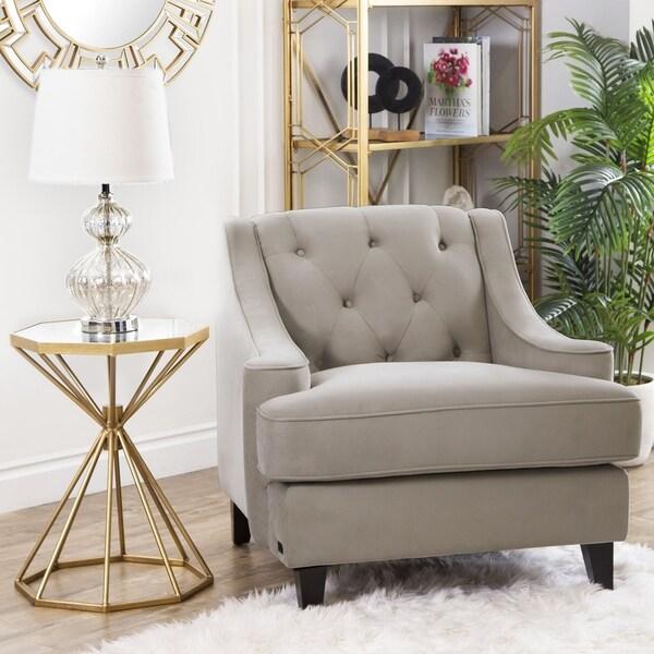 Shop Abbyson Claridge Taupe Velvet Tufted Armchair - On Sale