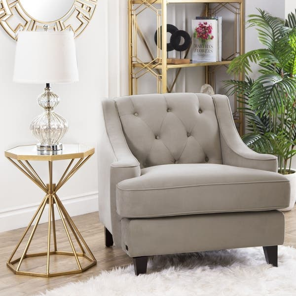 Superb Shop Abbyson Claridge Taupe Velvet Tufted Armchair On Sale Pabps2019 Chair Design Images Pabps2019Com