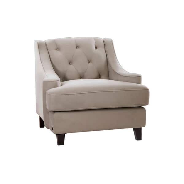 Awesome Shop Abbyson Claridge Taupe Velvet Tufted Armchair On Sale Pabps2019 Chair Design Images Pabps2019Com