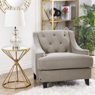 Abbyson Claridge Taupe Velvet Tufted Armchair