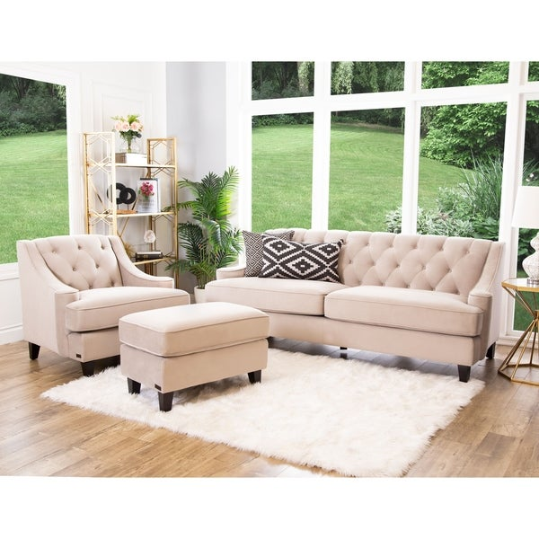 Shop Abbyson Claridge Beige Velvet 3 Piece Living Room Set