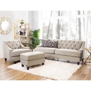 ABBYSON LIVING Claridge Velvet Fabric 3-piece Taupe Sofa, Armchair and Ottoman Set