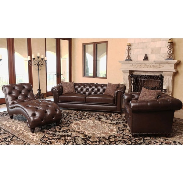 Abbyson carmela dark brown top grain leather chesterfield for Living room furniture 0 finance