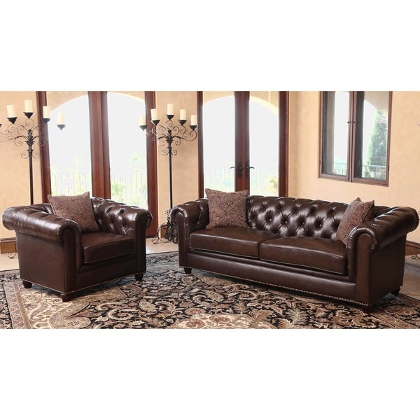 Shop Abbyson Carmela Dark Brown Top Grain Leather Chesterfield 2 Piece Living Room Set On Sale