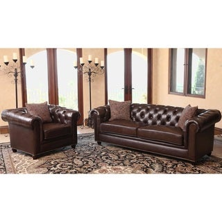 abbyson carmela chesterfield premium top grain leather sofa and armchair set - Living Room Leather Sofas