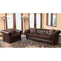 Abbyson Carmela Dark Brown Top Grain Leather Chesterfield 2 Piece Living Room Set
