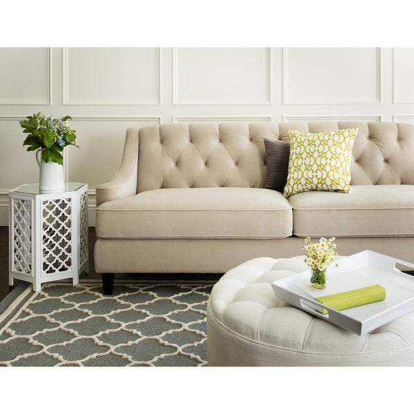 Abbyson Claridge Taupe Velvet Fabric Tufted Sofa
