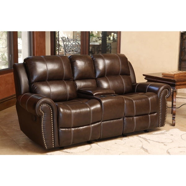 Abbyson Clarendon Top Grain Leather Glider Reclining Loveseat With Console Free Shipping Today