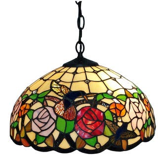 Art glass ceiling lights for less overstock tiffany style 2 light floral hanging lamp mozeypictures Images