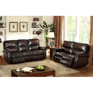 Crestview Dark Brown Top Grain Leather Lay Flat Reclining Sofa and Loveseat