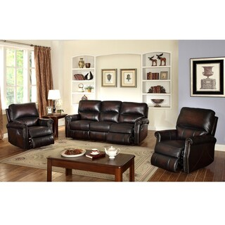 Crestview Dark Brown Top Grain Leather Lay Flat Reclining Sofa and Two Recliner Chairs