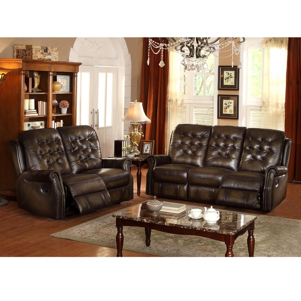 bedford wingback tufted brown top grain leather reclining sofa and loveseat free shipping. Black Bedroom Furniture Sets. Home Design Ideas