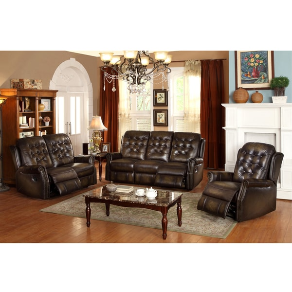 Bedford Wingback Tufted Brown Top Grain Leather Reclining Sofa Loveseat and Recliner - Free ...