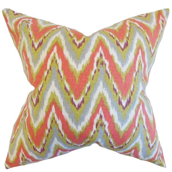 Matisse Zigzag Coral Down and Feather Filled Throw Pillow