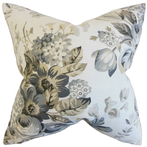 Quela Floral Pewter Down and Feather Filled 18-inch Throw Pillow