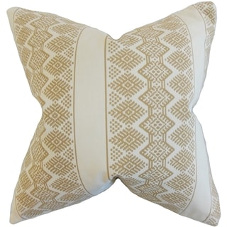 Reilly Geometric Taupe Down and Feather Filled Throw Pillow