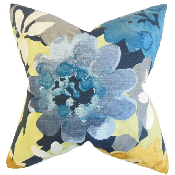 Penrose Floral Indigo Down and Feather Filled Throw Pillow