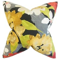 Penrose Floral Red Down and Feather Filled Throw Pillow